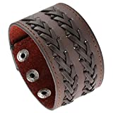 EasySo Mens Womens Braided Leather Bracelet Punk Rock Wide Belt Strap Wristband Cuff Bangle Adjustable Brown