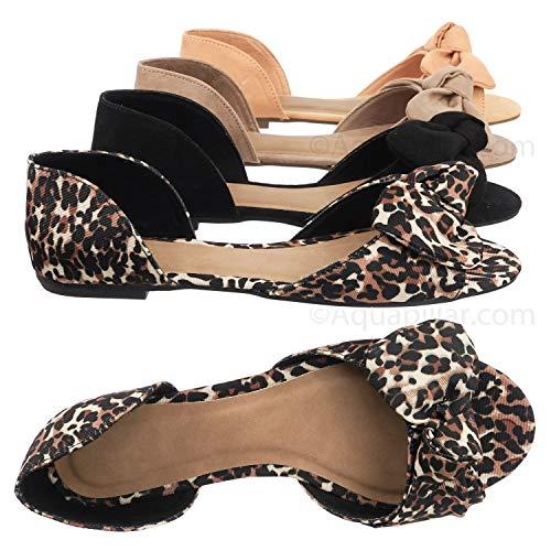 Aquapillar Bow D'Orsay Peep Toe Flats - Women Slip On Two Piece Sandal Leopard Brown
