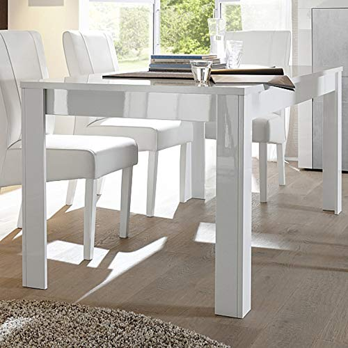Kasalinea - Mesa de Comedor, Color Blanco Lacado Brillante: Amazon ...