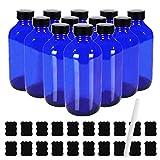 8 oz Glass Boston Bottles with Poly Cone Cap,Chalk