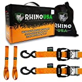 RHINO USA Ratchet Straps Motorcycle Tie Down Kit, 5,208 Break Strength - (2) Heavy Duty 1.6'' x 8' Rachet Tiedowns with Padded Handles & Coated Chromoly S Hooks + (2) Soft Loop Tie-Downs (ORANGE)