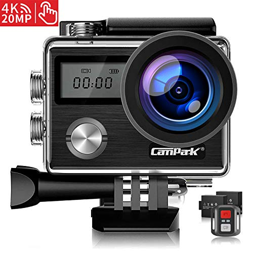 Campark X20 Action Camera 4K Ultra HD 20MP with EIS Stablization Touch Screen Remote Control Waterproof Camera 40M 170° Adjustable Angle 2 Batteries and Professional Accessories Compatible with GoPro
