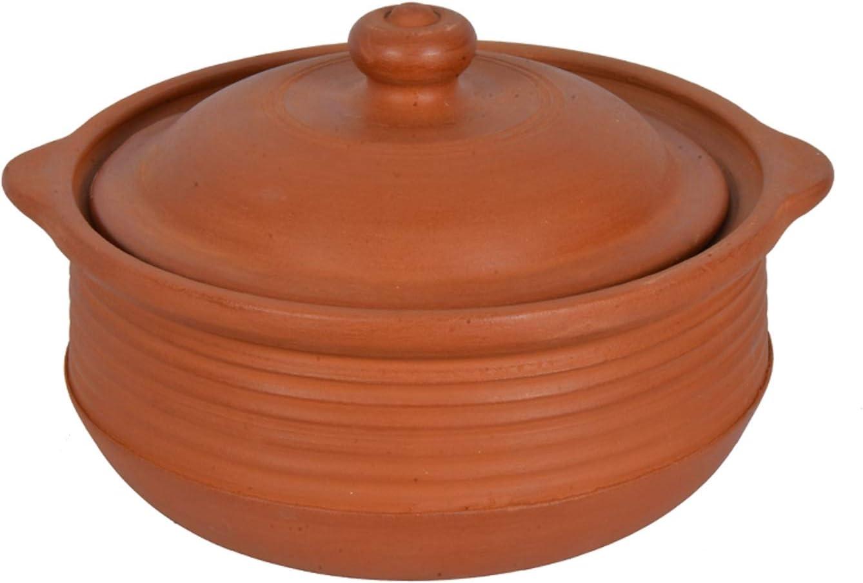 Village Decor Earthen Clay Cooking Pot Indian (3.3 Qt)