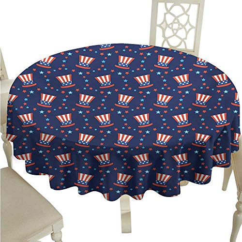 longbuyer Round Tablecloth Wood USA,Uncle Sam Hats American Culture Celebration Independence Anniversary Concept,Navy Blue White Red D70,for Spring -