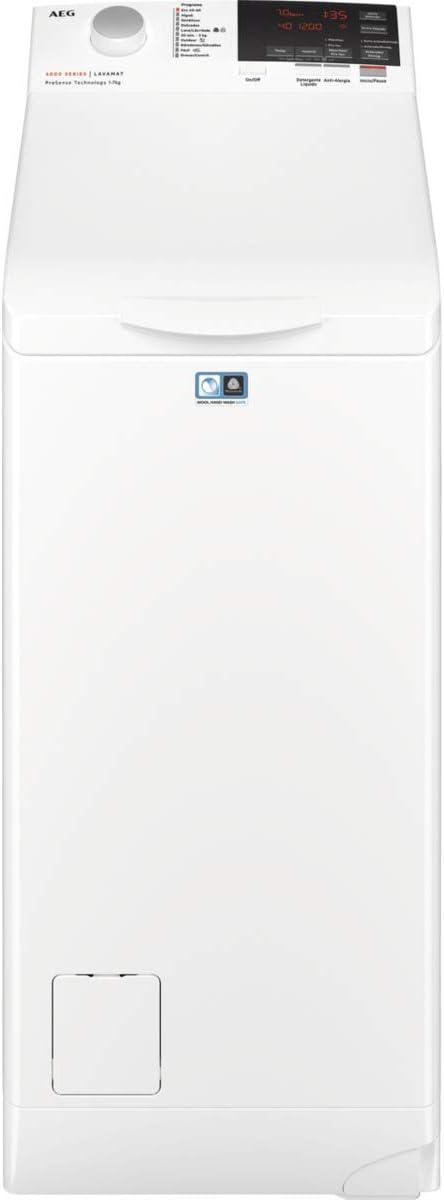 AEG L6TBG721 Lavadora de Libre Instalación, Carga Superior, 7 Kg / 1200 rpm, 11 Programas, Programa Rápido 20 min, Inicio Diferido, Autoposicionamiento Tambor, Apertura Suave, LCD, Blanca, A+++