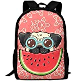 Pug Dog In Sunglasses Eating Watermelon Unique Outdoor Shoulders Bag Fabric Backpack Multipurpose Daypacks For Adult
