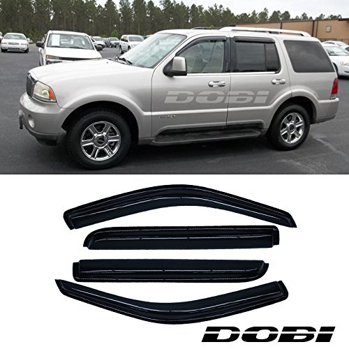 VioGi 4pcs Front Rear Smoke Sun/Rain Guard Vent Shade Window Visors For 02-10 Ford Explorer Mercury Mountaineer 03-05 Lincoln Aviator 4-Door SUV Only (Expect Sprot Trac or 2-Door Model)