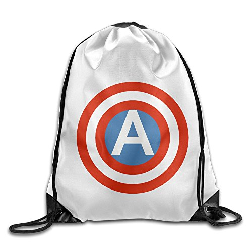 Chocy American Comic Books Superhero Shield Mountaineering White Drawstring Backpack White