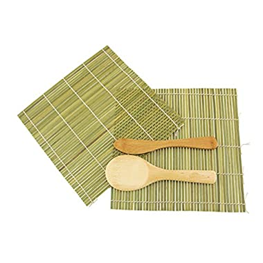 BambooMN Brand - Sushi Rolling Kit - 2x rolling mats, 1x rice paddle, 1x spreader - green
