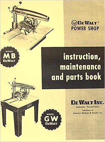 dewalt mb & gw radial arm saw instructions & parts manual plastic comb –  1900