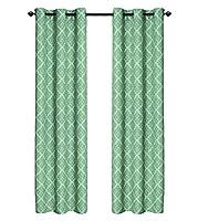 Indecor Home Design Grommet Top Faux Slub Window Panel, Regal, Sage