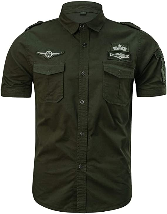 Camisa de Hombre,Internet_Camisa de Manga Corta de Solapa Militar de con Bolsillos de Color sólido de Insignia del Bordado para Hombres(Ejercito ...