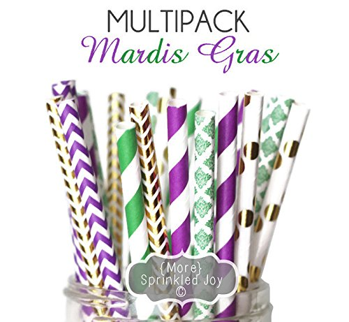 Designer Durable Disposable Drinking Paper Straws (25) - Mardi Gras