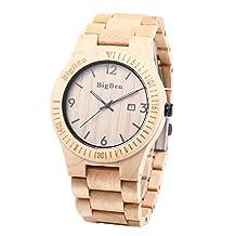 BEWELL B01 Mens Wooden Watches Male Quartz Wristwatch with Luminous Date Display Retro Wrist Watch (Zebra wood) (Maple)