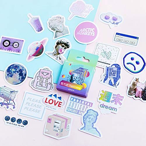 Mini Size Scrapbook Stickers, 46pcs Doraking DIY Decorative Lovely Stickers Life Set for Laptop, Planners, Calendars, Envelopes, Scrapbooks, Suitcase, Textbook, Size Less 44mm(Vaporwave)