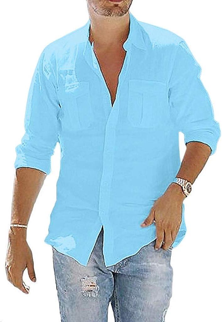 SoonerQuicker Camisas Tops T Shirt 2019 New Hombre Baggy algodón Lino Bolsillo Puro Manga Larga Vintage Camisetas Tops Blusa tee Blusa Tops: Amazon.es: Ropa y accesorios