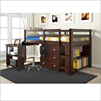 Twin Low Loft With Roll-Out Desk 3 Drawer Chest and Bookcase Cappuccino