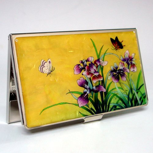 - Antique Alive Mother of Pearl Orchid Design Yellow Business Credit Case Metal Stainless Steel Engraved Slim Purse Pocket Cash Money Wallet (B125)