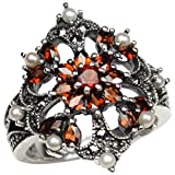 Garnet Fire Burst Cultured Seed Pearl Sterling Silver Ring (Size 8) - Dahlia Vintage Collection