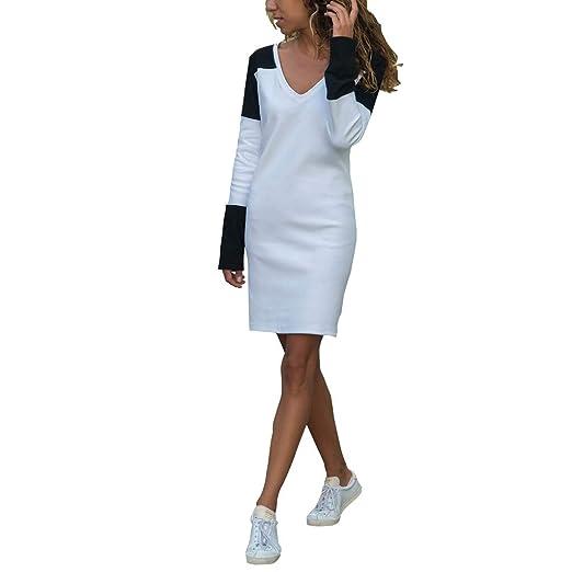 59f7dbd8fdd8 Alangbudu Women's Casual Contrast Color Jersey Long-Sleeve V-Neck T-Shirt  Midi