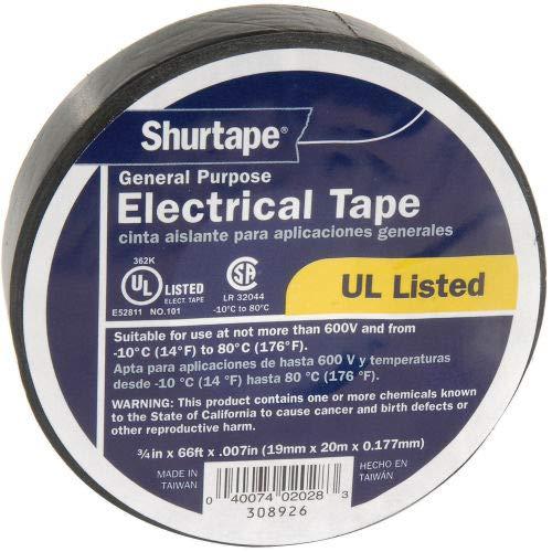 Shurtape EV 057B Black Electrical Tape, EV 57 3/4'' X 20', 7 mil, Black - Pkg Qty 10 (Pack of 5)