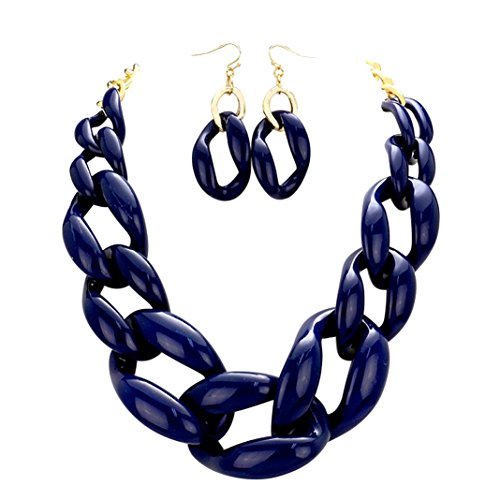 Rosemarie Collections Women's Chunky Link Chain Statement Necklace Set (Navy Blue)