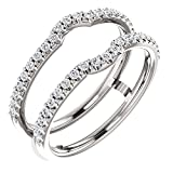 14k White Gold 3/8 ctw. Diamond Ring Guard to Fit 1/4 Ct to 1 Ct Center Stone, Size 7