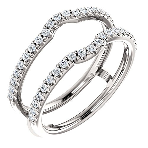 14k White Gold 3/8 ctw. Diamond Ring Guard to Fit 1/4 Ct to 1 Ct Center Stone, Size 7 by Banvari