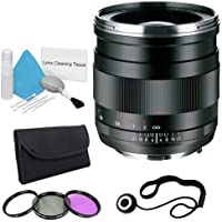 Zeiss 25mm f/2.0 Lens for Canon Digital SLR Cameras + 67mm 3 Piece Filter Kit + Lens Cap Keeper + Deluxe Cleaning Kit DavisMAX Bundle - International Version (No Warranty)