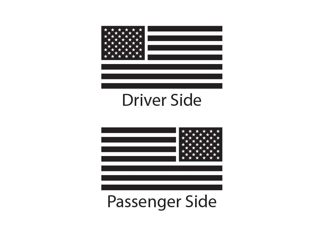 USA Flag Decal Set of 2 for Toyota FJ Cruiser Matte Black