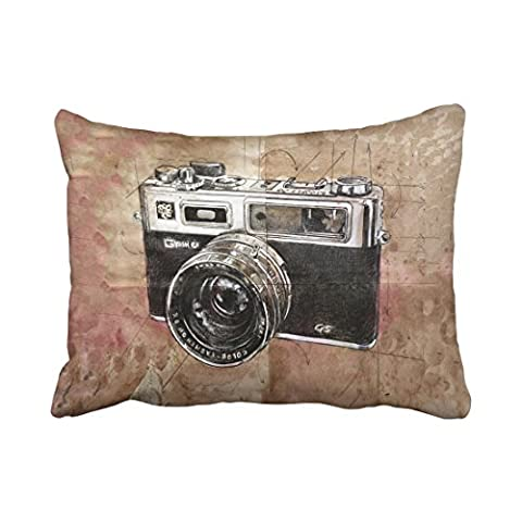 Emvency Decorative Throw Pillowcase Standard 20x26 Inches Vintage Watercolor Camera Painting Brown Retro Cotton Pillow Cover With Hidden Zipper Decor - Round Sterling Silver Wire Basket