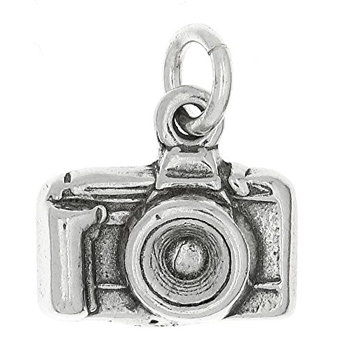 Sterling Silver Camera Charm - Lgu Sterling Silver Oxidized Point and Shoot Camera Charm