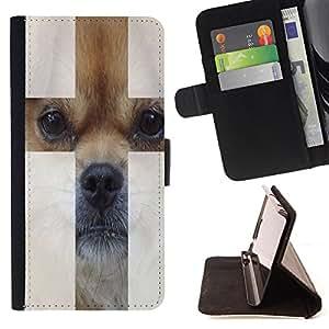 Jordan Colourful Shop - FOR HTC One M8 - Cute puppy dog - Leather Case Absorciš®n cubierta de la caja de alto impacto