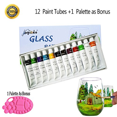 Magicdo® 12 Cols Glass Paint With Palette, Glass Painting Kit, 12 x 12ml Tubes, Artist Quality Non Toxic Rich Pigments Colors Great For Glass, Window, Ceramic