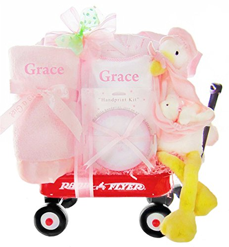 Personalized Stork Delivery Baby Girl Gift Set in a Miniature Radio Flyer Wagon