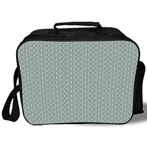 Retro 3D Print Insulated Lunch Bag,Medieval Authentic Style Curved Oval Floral Motifs Delicate Feminine,for Work/School/Picnic,Light Sage Green White