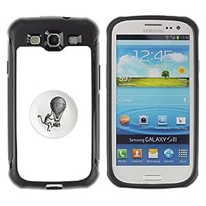 "Pulsar iFace Series Tpu silicona Carcasa Funda Case para Samsung Galaxy S3 III I9300 , Globo aerostático blanca mono Retro Negro"""