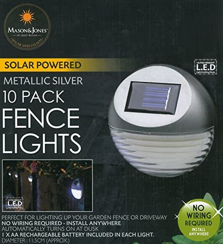 12 x Silver Solar Power Door Fence Wall Lights Led Outdoor Garden Shed Lighting
