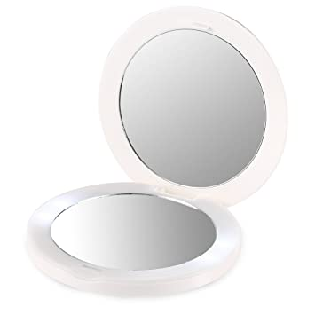 4 led lights mirror circle siryessir plemo portable doublesided lighted makeup mirror rechargeable led vanity with light amazoncom