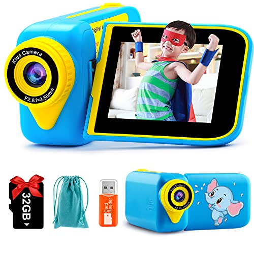 PROGRACE Kids Video Camera Boys Camcorder - Camera for Kids Children Video Digital Recorder Toddler 3-10 Years Old Birthday Christmas Boys Gifts Toys 270°Rotation Screen 2.4