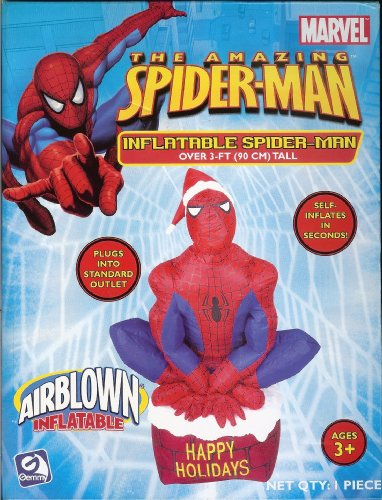 The Amazing Spider-Man 3 ft tall Airblown Inflatable Christmas Holiday Display by Marvel Comics
