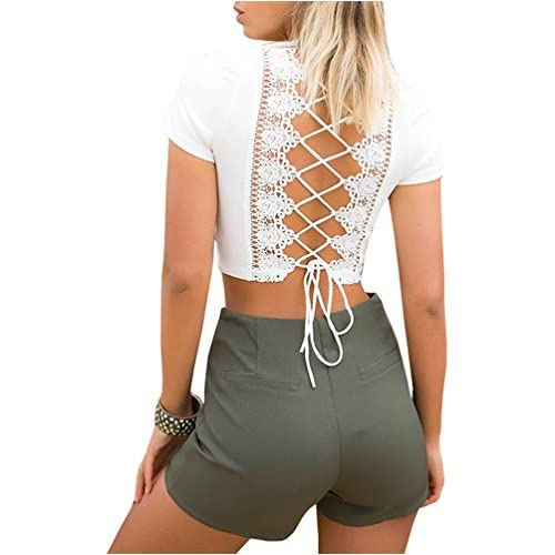 7db5f8e190f chic Gobought Women s V Neck Tshirt Cross Back Lace Up Crop Top ...