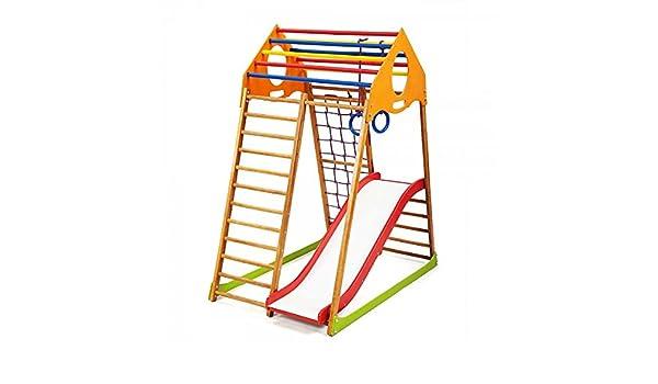 Centro de Actividades con Tobogán ˝Kindwood-1˝, Red de Escalada, Anillos, Escalera Sueco, Campo de Juego Infantil: Amazon.es: Juguetes y juegos