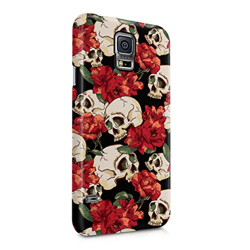 Grunge Skeleton Skulls Pattern Roses Wildflower Floral Hipster Plastic Phone Snap On Back Case Cover Shell Compatible with Samsung Galaxy S5 ()