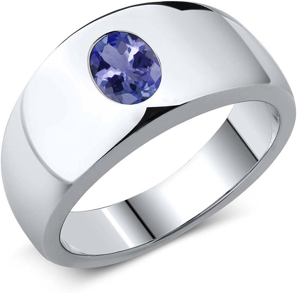6.42 Ct Blue Tanzanite White Topaz 925 Sterling Silver Gemstone Ring Size 5-12