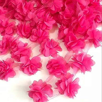 e9c651854a9ec Amazon.com: Lace Crafts - 2yard=24pcs Flowers 3D Chiffon Cluster ...