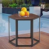 THKSBOUGHT Coffee Table Modern Wood Outdoor Patio Side Table Garden Backyard Furniture