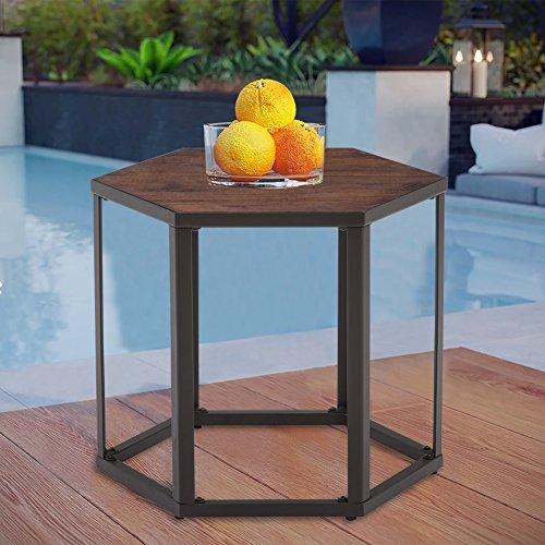 Cheap  THKSBOUGHT Coffee Table Modern Wood Outdoor Patio Side Table Garden Backyard Furniture