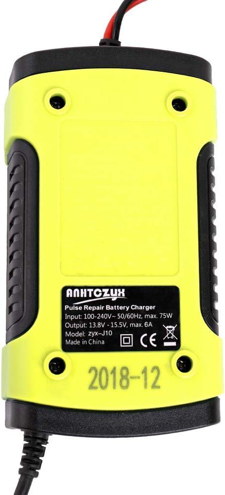 Caricabatterie Auto Moto 12V,Caricabatteria per auto,mantenitore di Carica Batteria Moto per carica batteria auto 12v con Display LCD Digitale