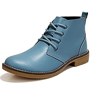 Motorcycle Boots Women Cow Leather Ankle Short Booties Fashion Ladies Casual Flats Shoes (2821blue39)